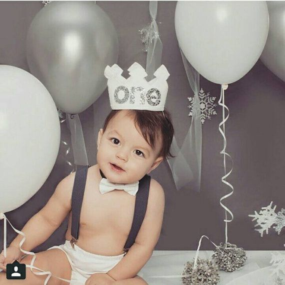 First Birthday Boy Boy Birthday Crown Boy Birthday: White And Metallic Silver First Birthday Felt By