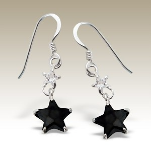 Stars Cubic Zirconia stone earings - Finishing: Hand polished 925 Sterling silver+E-coat 925 Sterling silver Design from Bangkok925.com  Dimensions:  2cm.  nice Silver CZ Earrings at $5.93