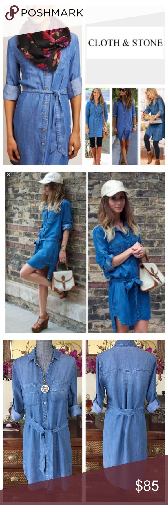 """🆕Anthropologie Cloth & Stone Denim Dress.  NWOT. 🆕 Anthropologie Cloth & Stone Buttondown Denim Shirt Dress, 100% tencel, machine washable, 19.5"""" armpit to armpit (39"""" all around), 19.5"""" arm inseam, 35.5"""" shortest length, 40"""" longest length, long sleeves, rolled tab sleeves, high low curved hem, belt loops with belt, two chest pockets, collared, fading, buttoned cuffs, measurements are approx.  New without tag, never worn.  NO TRADES Anthropologie Dresses Mini"""