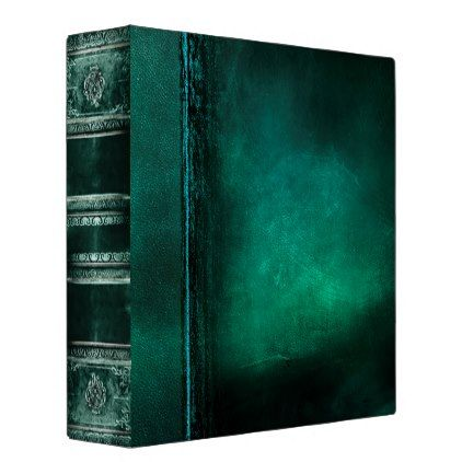 #pretty - #Rustic Antique Ancient Tome Faux Teal Leather 3 Ring Binder