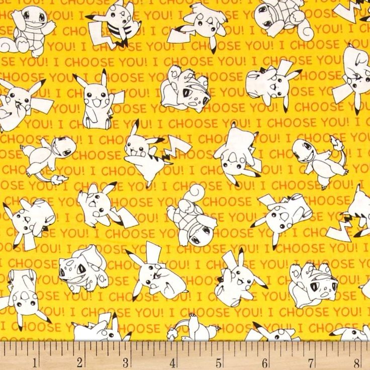 Poke'mon Small Poke'mon & Words Yellow from @fabricdotcom  Licensed by Nintendo for Robert Kaufman, this cotton print fabric is perfect for quilting, apparel and home decor accents. Colors include yellow, white, orange, and black.
