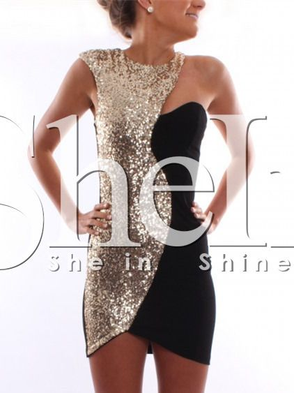 Shop Black Gold Sequined Sleeveless Dress online. SheIn offers Black Gold Sequined Sleeveless Dress & more to fit your fashionable needs.