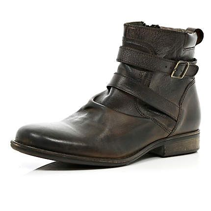 Brown leather distressed buckle biker boots - boots - shoes / boots - men