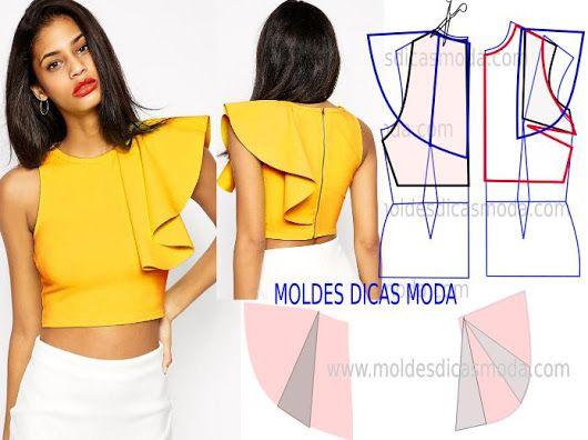 BLUSA COM BABADO -66 - Moldes Moda por Medida