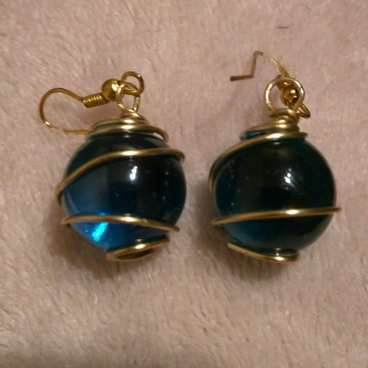 Blue Crystal Ball Gold Wire Wrapped Earrings by SassieDiva on Etsy