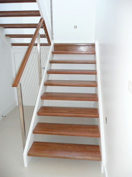 Spotted Gum Open Riser Stair With Stainless Steel Posts