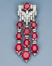 An Important Art Deco Ruby and Diamond Pendant Brooch by Van Cleef & Arpels  Circa 1930, with French assay marks, 7.5 cm long   Signed Van Cleef & Arpels, Paris,With certificate from the SSEF Swiss Gemmological Institute stating that the tested ruby weighs 6.17 carats and is of Burmese (Myanmar) origin and shows no indication of thermal enhancement