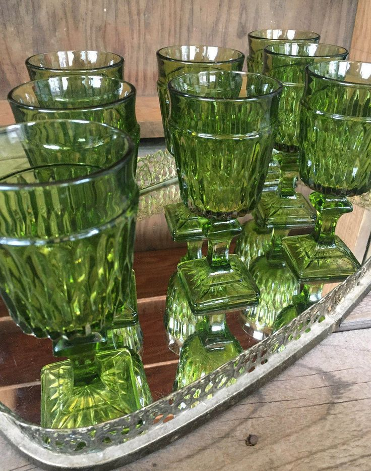 Charming Vintage set of 8 small, green wine or cocktail glasses by Indiana Glass, Mount Vernon- vintage green glass retro farmhouse barcart by Atatteredtulip on Etsy