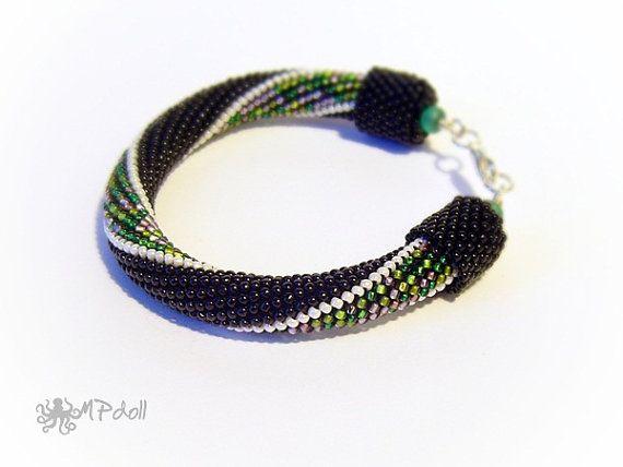 Meadow  Bead Crochet Bracelet Crochet Rope Beaded Handmade