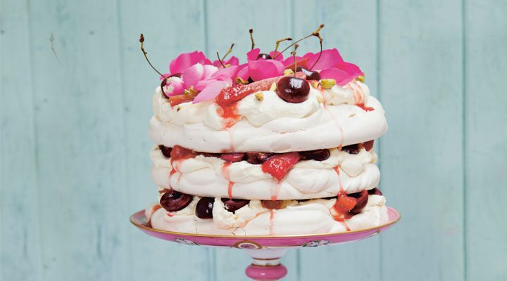 Meringue Stack Cake with Cherries and Poached Rhubarb