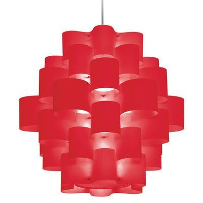 Wade Logan Barrett 9 Light Pendant Shade Color: Red