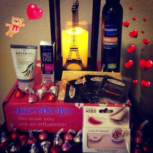 6 awesome products I received from Influenster to test. Vaseline Men 24 hr. Moisture Spray Lotion, Red Rose Tea, Boots Botanics Ionic Clay Mask, John Frieda Frizz Ease Spray, Kiss Looks So Natural Lashes and Hershey's Kisses #jadorevoxbox