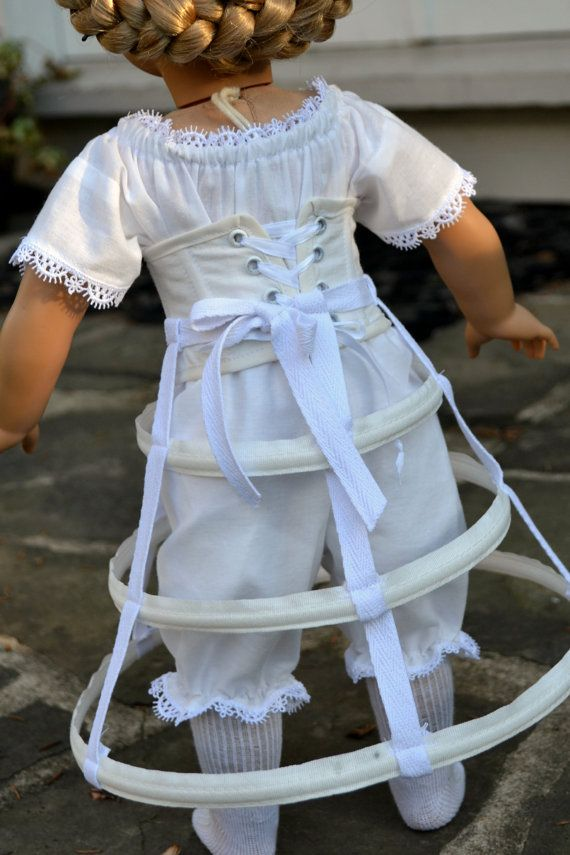 This mid-Victorian complete set of underpinnings will furnish your historical dolls period wardrobe with authentic structural undergarments.