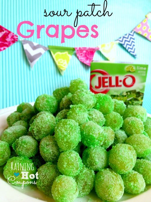 Sour Patch Grapes Recipe: we used Melon Fusion Jello. Loved it! I let my kiddo dip them himself - great way to keep him at the dinner table.