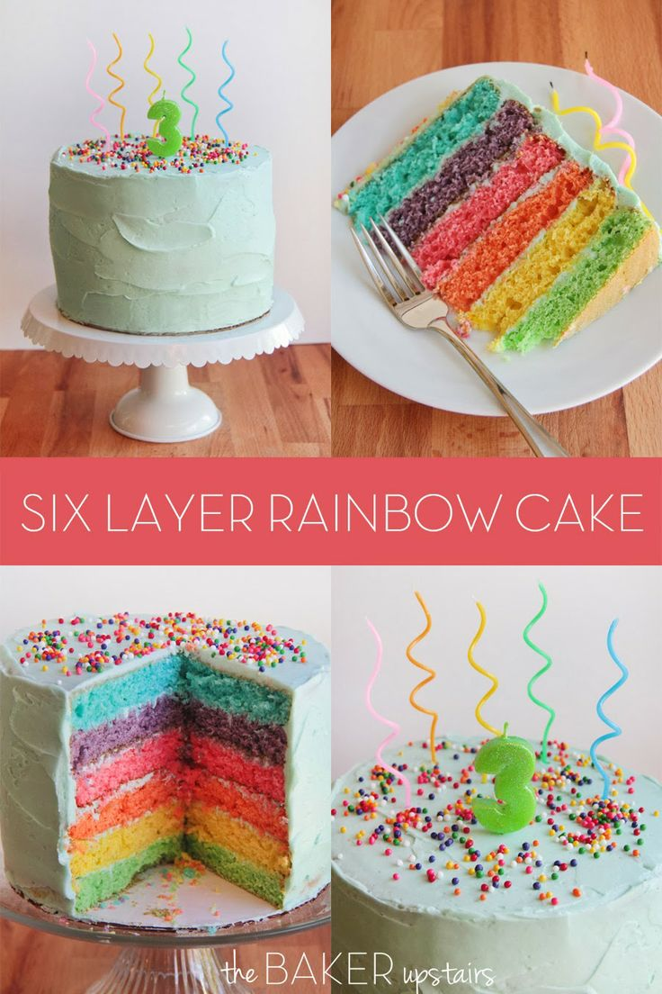 Six layer rainbow cake from The Baker Upstairs. This gorgeous cake is as delicious as it is beautiful! www.thebakerupstairs.com