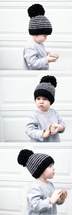 knit baby hat, toddler winter beanie, large pompom beanie, toddler boy style, winter, fall, toddler outfit idea, nickichicki, oversized pompom, handmade, chunky knit beanie