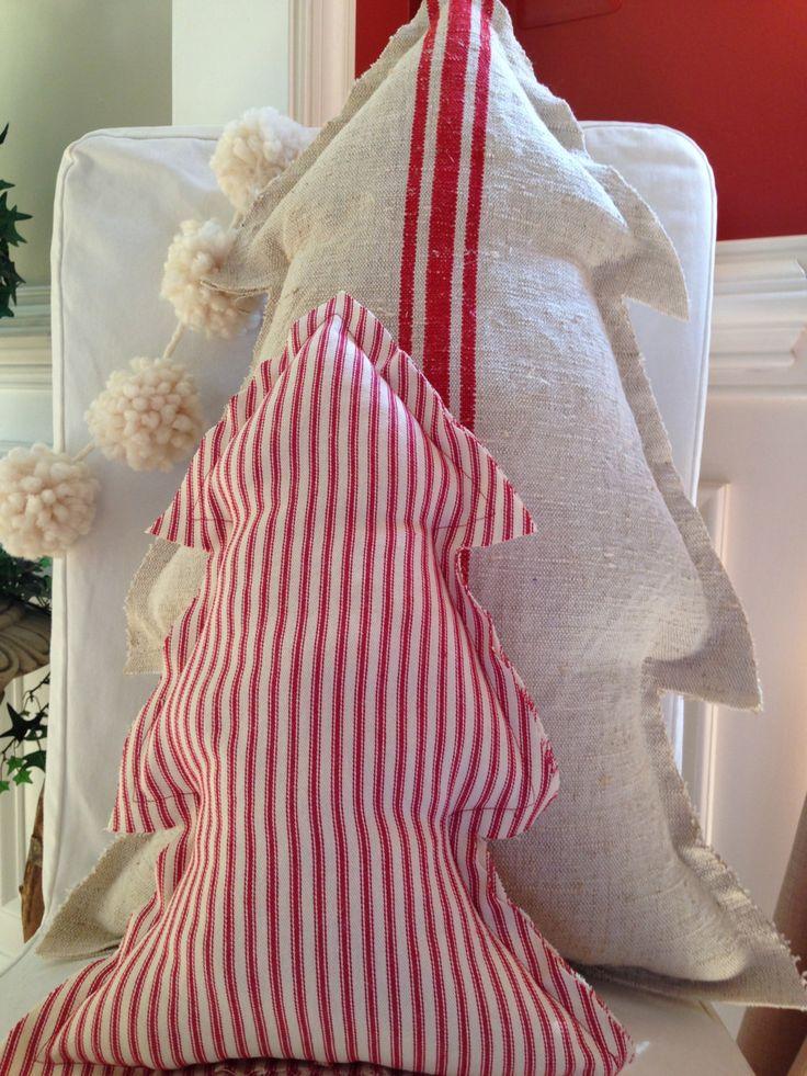Christmas Pillow Grain Sack Pillow Christmas Tree Pillow