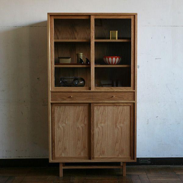 送料無料 北欧 食器棚 飾り棚 木製 おしゃれ 無垢家具 北欧家具 無垢