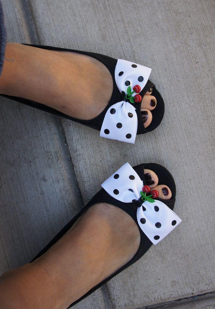 Olivia Paige - Polka dot cherries  Clips pin up rockabilly. $10.00, via Etsy.