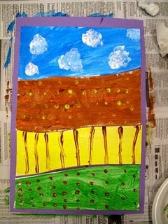 Farm land - a neat technique that reinforces the value and uses of land. An easy project for young children. Good for developing fine motor skills. The paper is cut into 4 sections & then painted.  Learning whilst doing a super art activity!