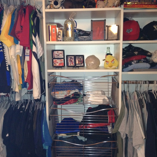 Organizing a 12 year old boys room....clothes in color order....no more mom where is my?