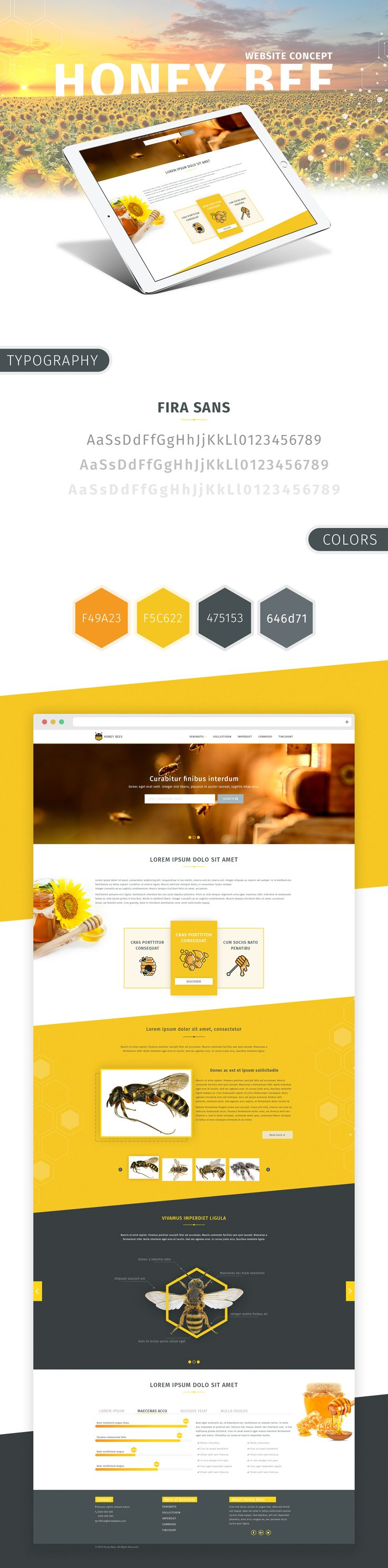 Honey Bee - Website Design Concept #bee #website #hexagon #design #honey #honeycomb #website #nature #webdesign #yellow