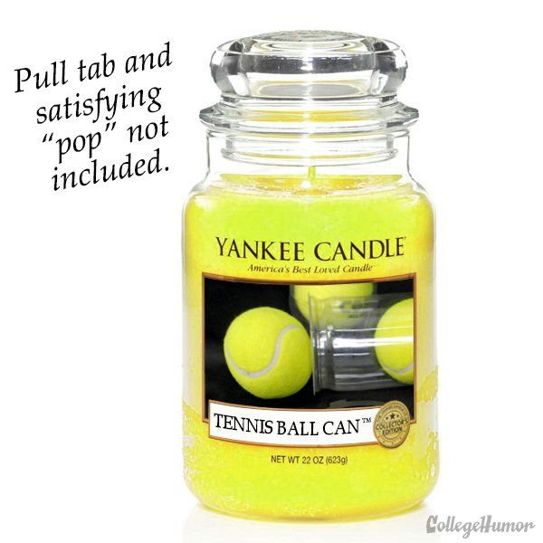 Interesting...  Tennis ball candle. Would the scent smell as good inside a house as popping open a fresh can of tennis balls on the court?