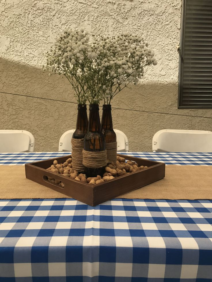 Beer bottle centerpieces. Cheers and beers to 30 years. Bbq theme party. #ginger…