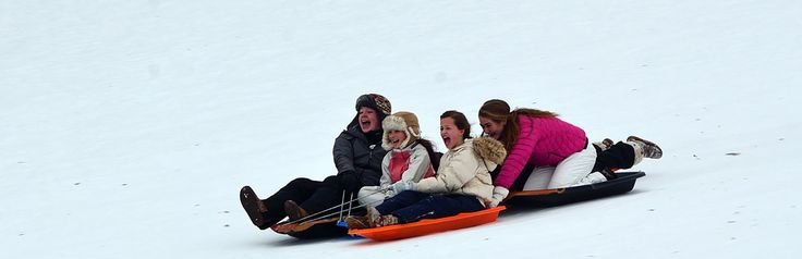 There are tons of hills to sled on at the resort and it's a family affair for kids of every age.  We have all the outdoor equipment at our Nordic Center.