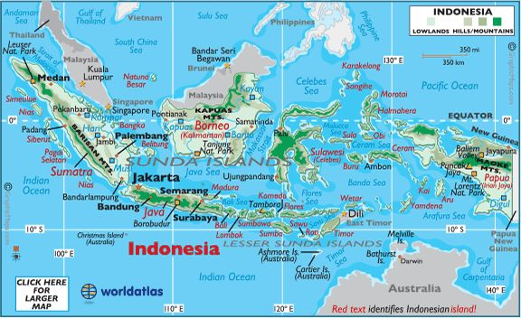 World Map >  Asia >  INDONESIA map + great info on Indonesia | Indonesia, with over 18,000 counted islands, is by far the largest and most varied archipelago on Earth. It spans almost 2 million square kilometers between Asia and Australia.  [volcano] Positioned on the Equator, across a region of immense volcanic activity, Indonesia has some 400 volcanoes within its borders, with at least 90 still active in some way.