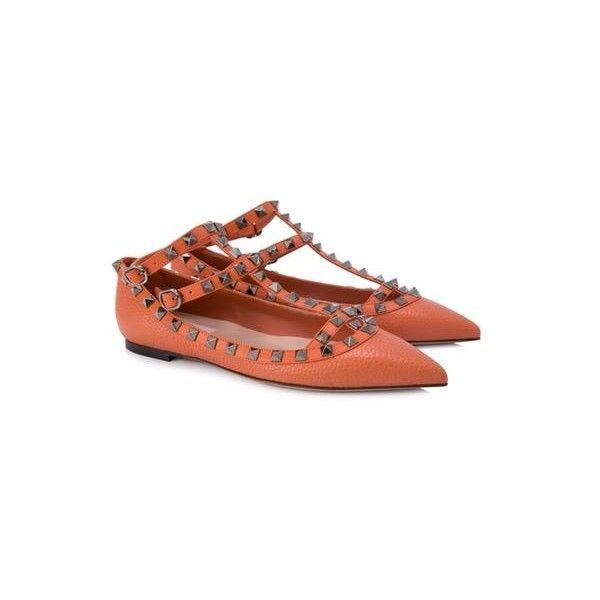 Valentino Garavani Rockstud Ballerina Flats (4386475 PYG) ❤ liked on Polyvore featuring shoes and flats