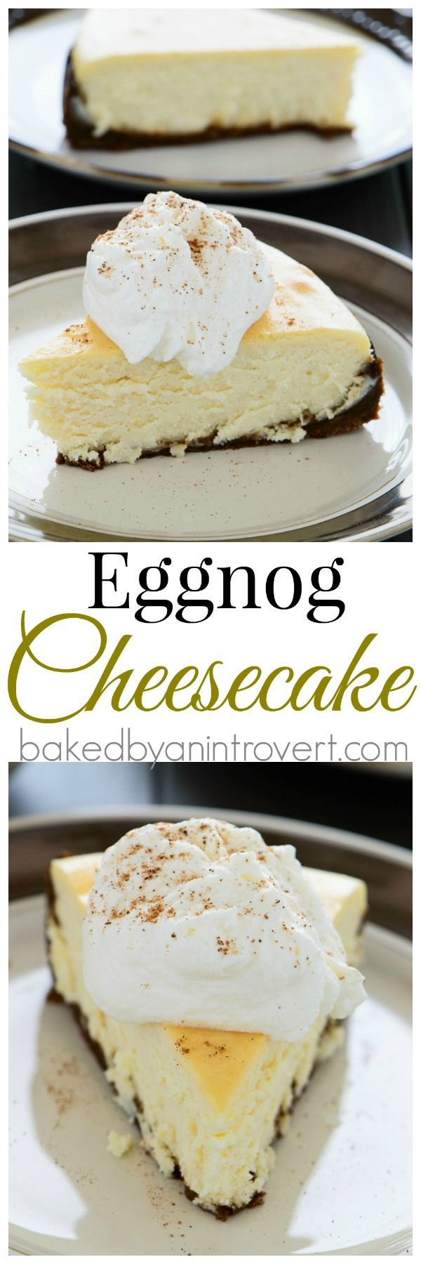 Divine eggnog cheesecake on top of a gingersnap crust, topped with eggnog whipped cream. This is something every eggnog lover must try!