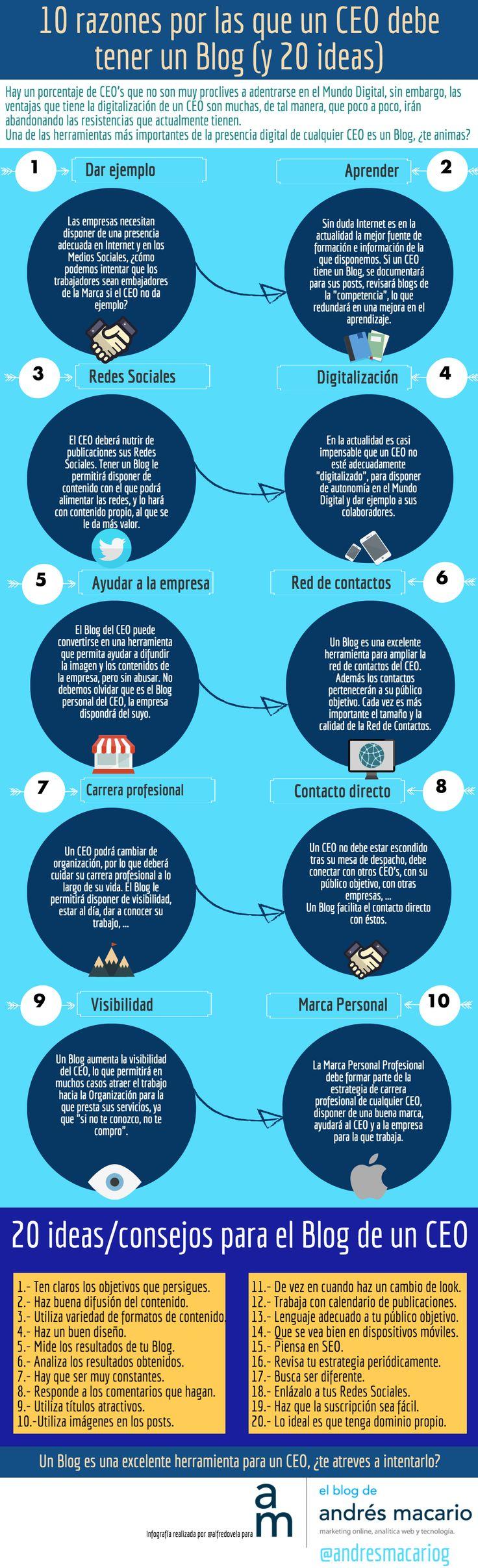 10 Razones por las que un CEO debe tener un Blog (y 20 ideas) #infografia