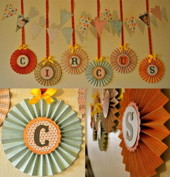 Circus party banner - Cute! by angela. You could get vintage toy tiger and elephants and make a cute cake topper. Swag streamers for big top tent effect.