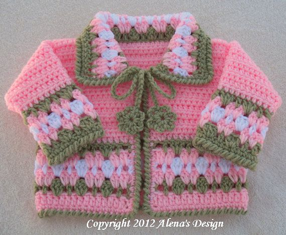 Crochet Pattern 045  Blossom Baby Jacket  3 6 12 by AlenasDesign, $9.95