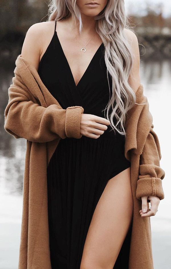 black elegant maxi dress with oversized cape Christmas evening outfit