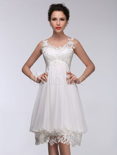 3fe1d10bc282 Short Wedding Dress White Lace Chiffon Sweetheart Summer Wedding Dresses  2019 High Waist Knee Length Bridal Dress - Milanoo.com