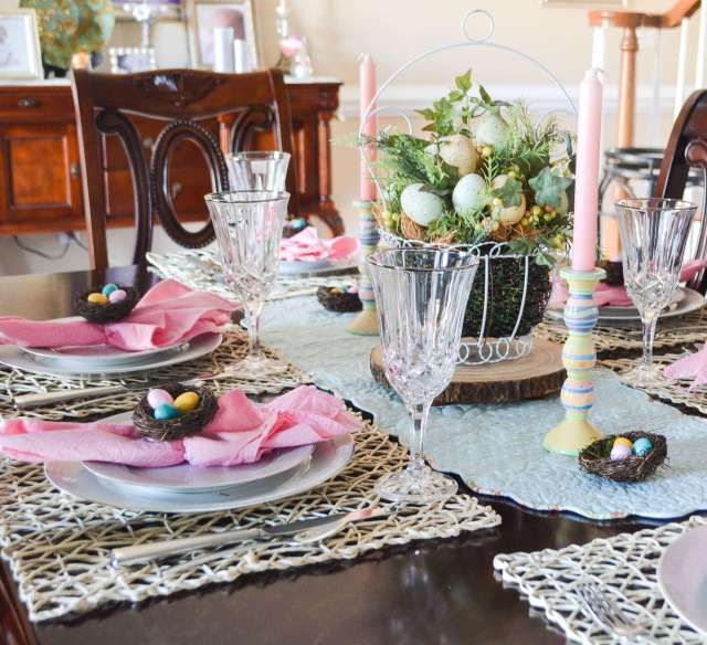 Spring Tablescape at Life on the Bay Bush with tips for seasonal decorating on a budget.  Cute Spring Table Settings!