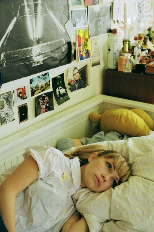 The queen of Virgin Suicides inspiration herself looking just as beautifully bored as a Lisbon. (Tavi Gevinson in her bedroom by Petra Collins)