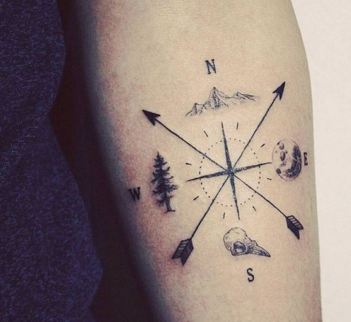 44 Inspirational Adventurous Tattoo Designs for Travel Addicts Check more at http://lucky-bella.com/adventurous-tattoo-design/