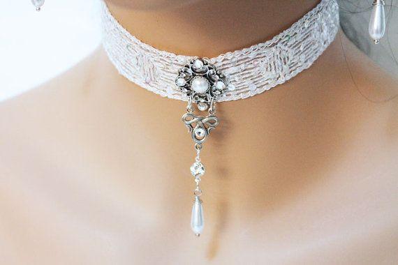 White Lace Victorian Choker Necklace Bridal Choker by Jewelshart