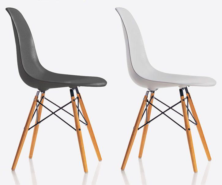 Charles & Ray Eames, 1950  De Eames Plastic Side Chair dateert uit dezelfde tijd als de legendarische Fiberglass Chair. Hij ontstond in samenwerking met Zenith Plastics voor de Low Kost Furniture Design-wedstrijd van het Museum of Modern Art in New York en was de eerste industrieel vervaardigde stoel van kunststof. Het Amerikaanse designersduo Ray (1921-1988) & Charles (1907-1978) Eames tekende voor veel designklassiekers