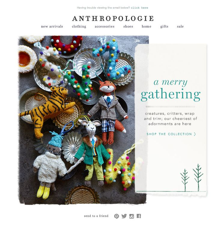 #newsletter 10.2013 Anthropologie subject:  Just in: Christmas decorations!