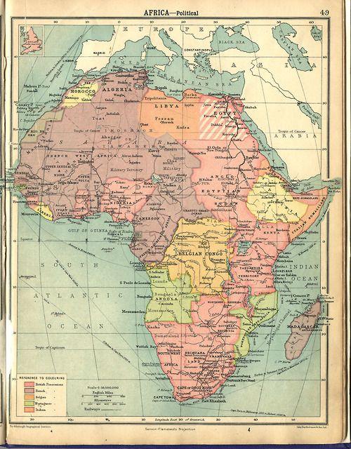vintage political map - Africa