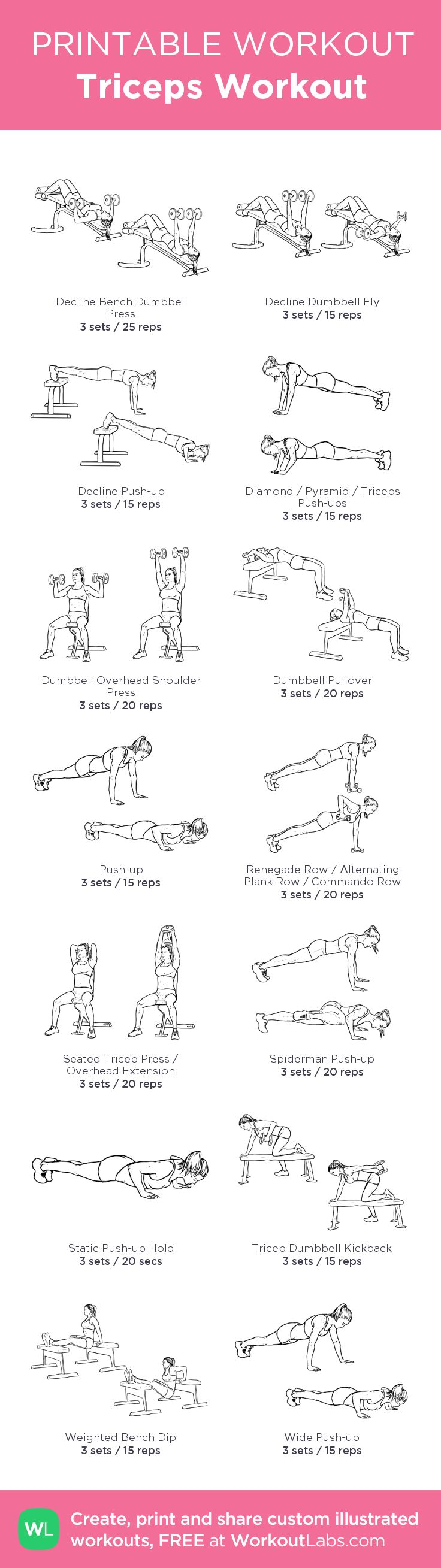 Triceps Workout:my visual workout created at WorkoutLabs.com • Click through to customize and download as a FREE PDF! #customworkout