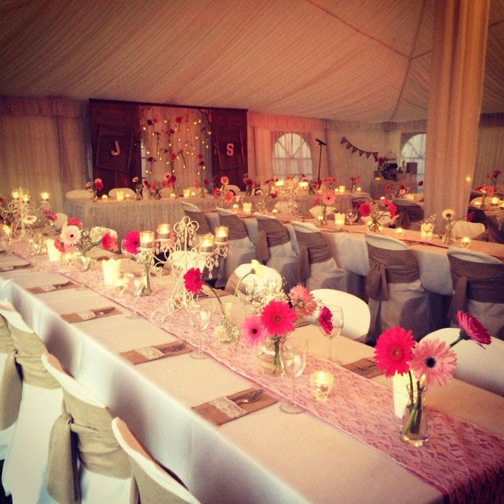Shabby chic vintage wedding ideas, pink and white marquee wedding, vintage lace and hessian, home weddings