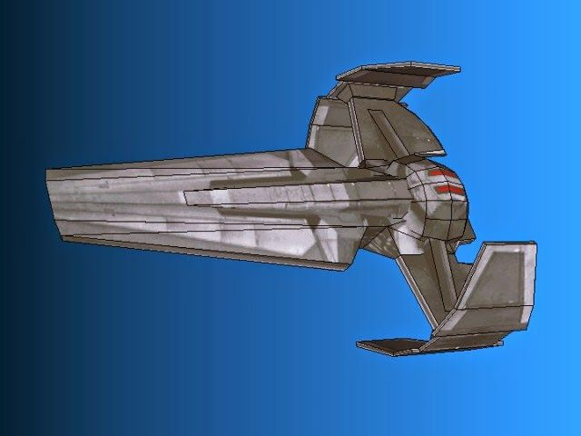 """Sith Infiltrator Papercraft   Tektonten Papercraft  In Star Wars: Episode I, Darth Maul traveled to Tatooine in a starship called The Scimitar. A more generic name for Maul's ship is the """"Sith Infiltrator"""" as the ship was designed by Darth Tenebrous and subsequently owned by several generations of Sith. This relatively simple paper model of The Scimitar was created by a Polish Star Wars fan."""