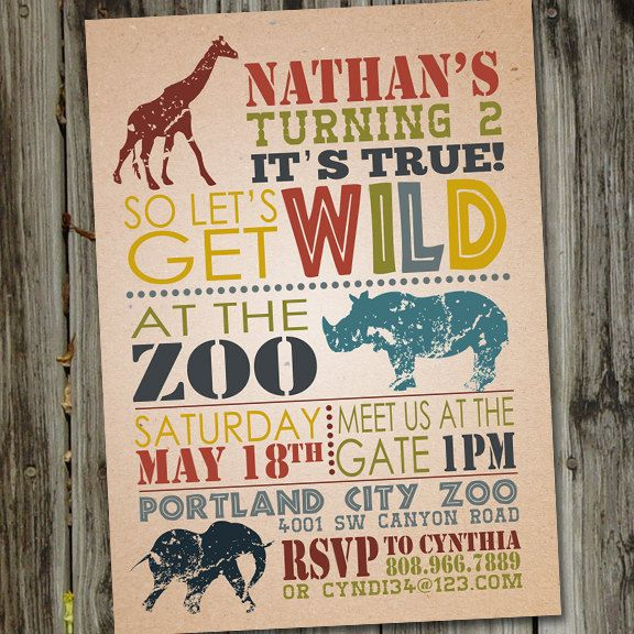 20 best zoo birthday images on pinterest birthday party ideas wild safari invitation zoo invitation birthday by partymonkey stopboris Choice Image