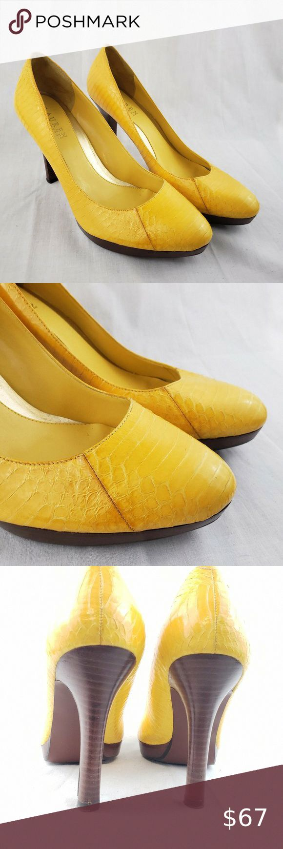 Ralph Lauren Yellow High Heel Shoes Ralph Lauren Yellow High Heel Shoes Platform Pumps Snakeskin Style sz 9.5. Condition…