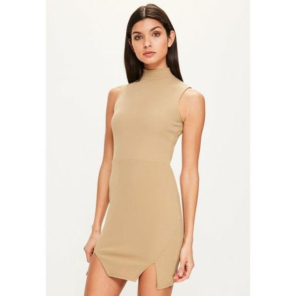 Missguided High Neck Double Wrap Bodycon Dress ($31) ❤ liked on Polyvore featuring dresses, camel, bodycon dress, high neck mini dress, bodycon mini dress, missguided dresses and short bodycon dresses
